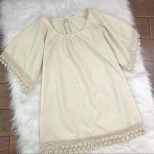 Umgee Cream Dress Lace Loose Fit Small
